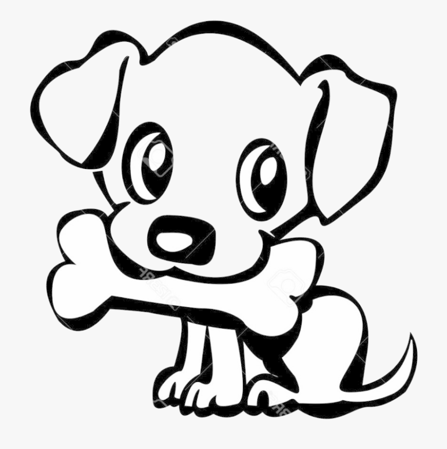 A puppy holding a bone logo picture.