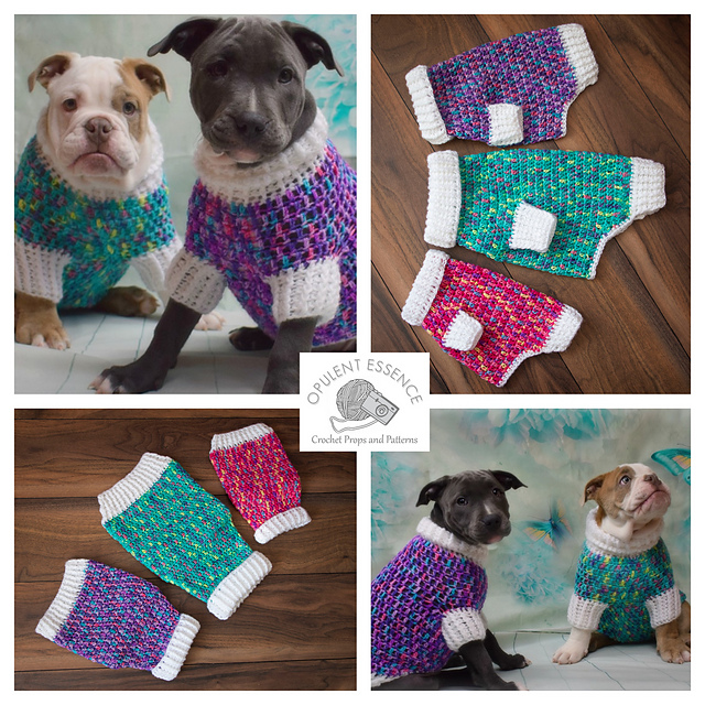 Four picture graphic of colorful dog sweaters and a bull dog and pit bull puppy wearing them.