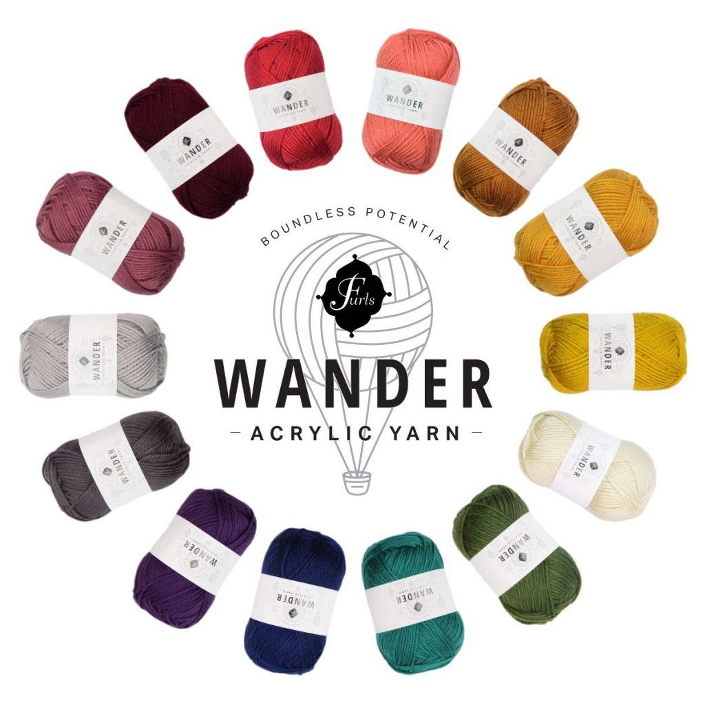 A circle image of wander yarn from Furls.