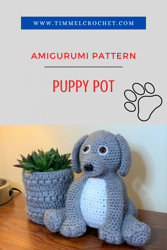 Pinterest pin of an amigurumi dog with the text Amigurumi Pattern and Puppy Pot.