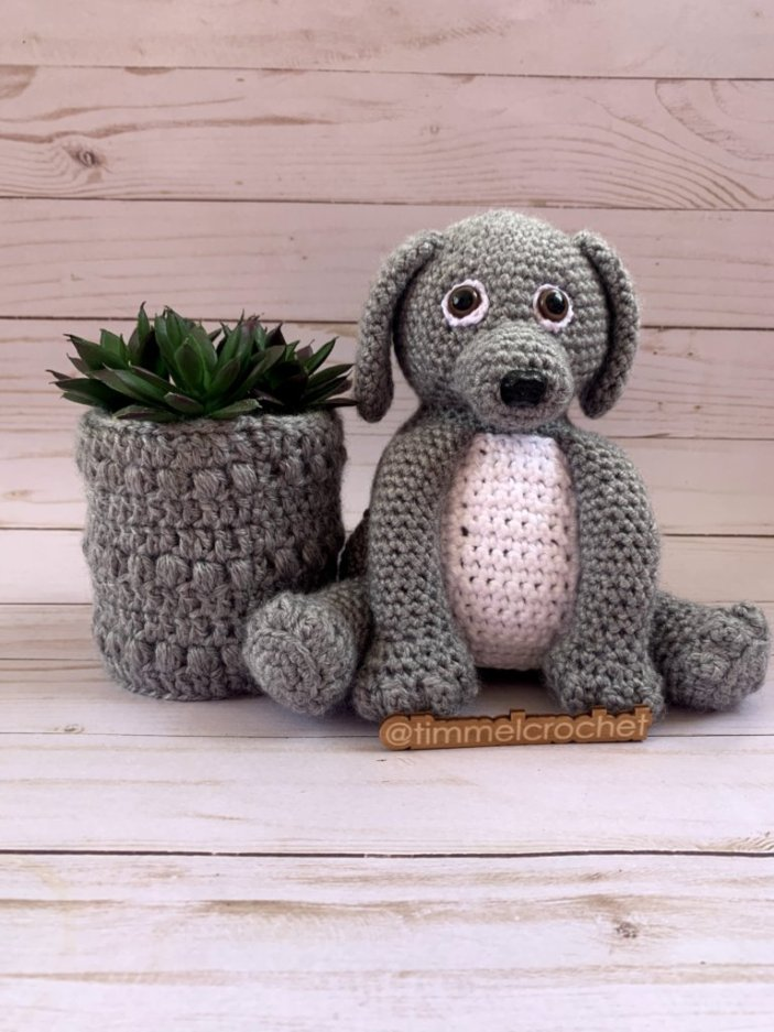 Gray amigurumi dog with white belly with a crochet plant cozy. A nameplate with TimmelCrochet sits in front of the dog.